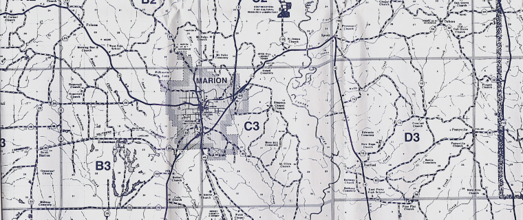 Map of Marion, AL