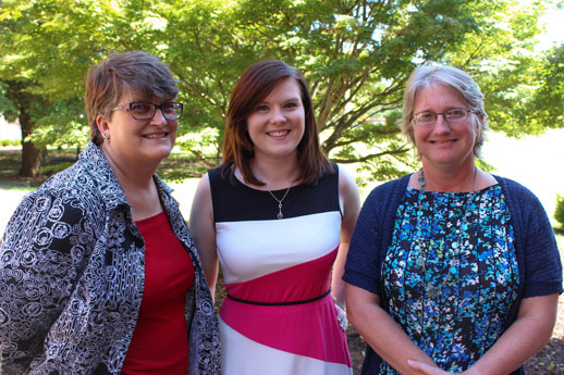 Katie Hamner with her Honors Program committee, Dr. Joann Williams (left) and Mrs. Kristi Metty (right)